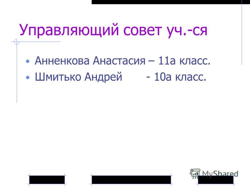 Управляющий совет уч.-ся Анненкова Анастасия – 11а класс. Шмитько Андрей - 10а класс.