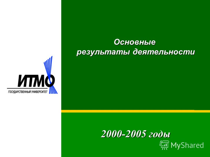 2000-2005 годы Основные результаты деятельности