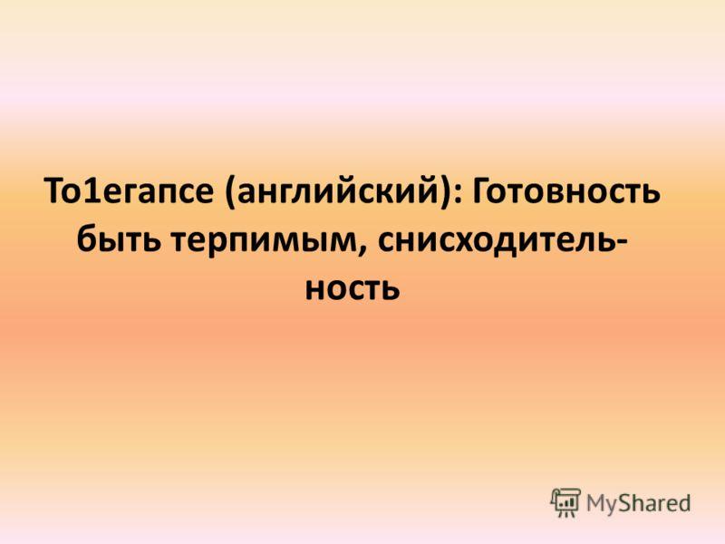 То1егапсе (английский): Готовность быть терпимым, снисходитель- ность