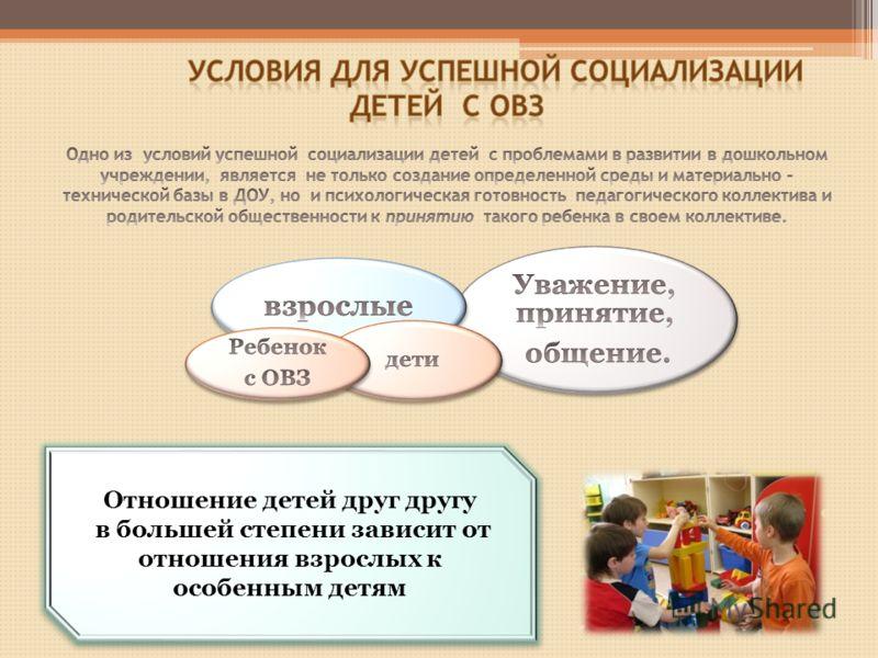 Отношение детей друг другу в большей степени зависит от отношения взрослых к особенным детям Отношение детей друг другу в большей степени зависит от отношения взрослых к особенным детям