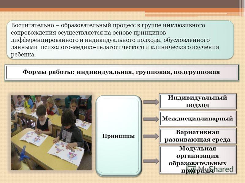 Модульная организация образовательных программ Междисциплинарный Индивидуальный подход Вариативная развивающая среда Принципы Воспитательно – образовательный процесс в группе инклюзивного сопровождения осуществляется на основе принципов дифференциров