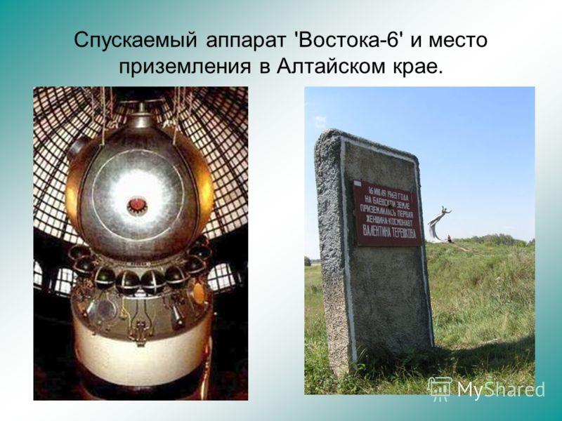 Спускаемый аппарат 'Востока-6' и место приземления в Алтайском крае.