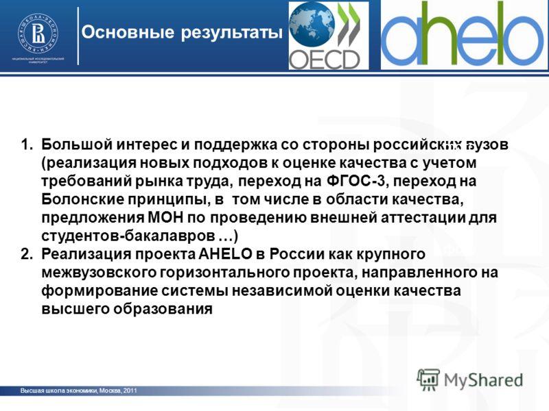 1.Большой интерес и поддержка со стороны российских вузов (реализация новых подходов к оценке качества с учетом требований рынка труда, переход на ФГОС-3, переход на Болонские принципы, в том числе в области качества, предложения МОН по проведению вн