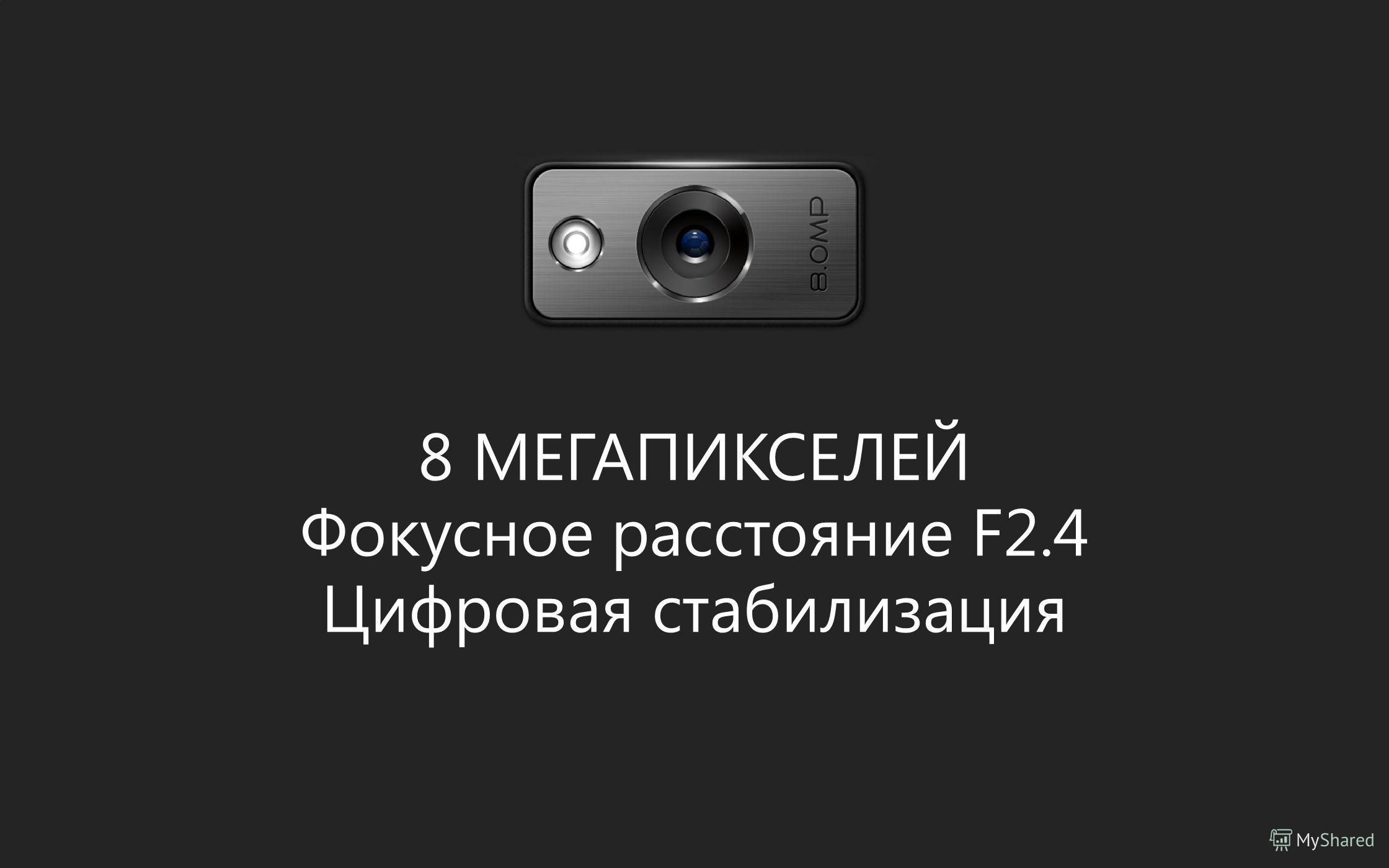 8 МЕГАПИКСЕЛЕЙ Фокусное расстояние F2.4 Цифровая стабилизация