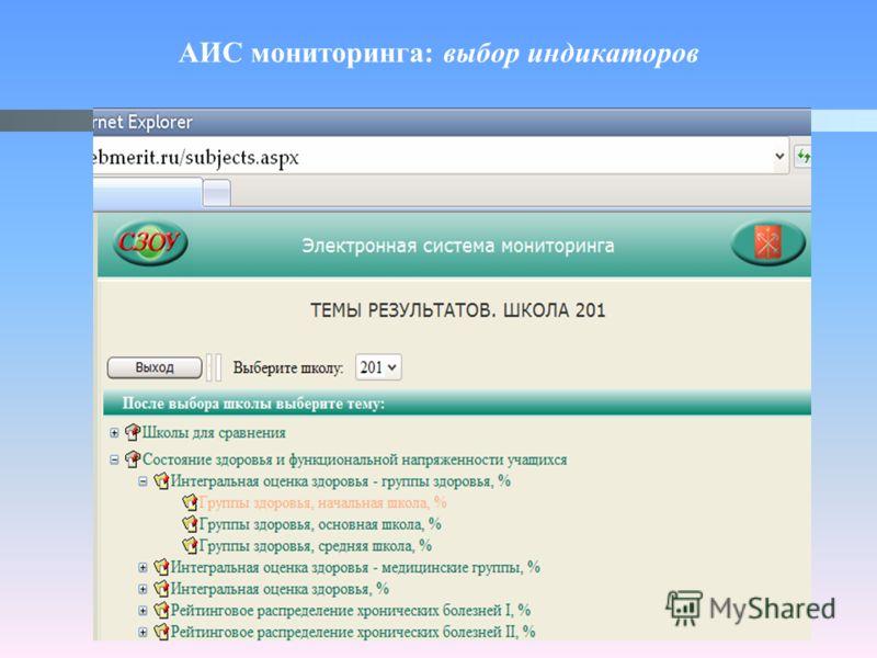 АИС мониторинга: выбор индикаторов