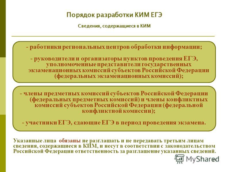 24 - члены предметных комиссий субъектов Российской Федерации (федеральных предметных комиссий) и члены конфликтных комиссий субъектов Российской Федерации (федеральной конфликтной комиссии); - участники ЕГЭ, сдающие ЕГЭ в период проведения экзамена.
