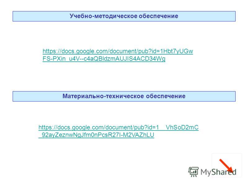 Учебно-методическое обеспечение Материально-техническое обеспечение https://docs.google.com/document/pub?id=1Hbt7yUGw FS-PXin_u4V--c4aQBldzmAUJIS4ACD34Wg https://docs.google.com/document/pub?id=1__VhSoD2mC _92ayZeznwNgJfm0nPcsR27I-M2VAZhLU