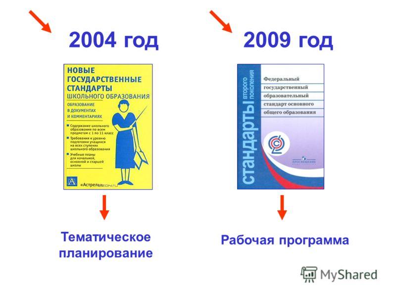 2004 год2009 год Тематическое планирование Рабочая программа