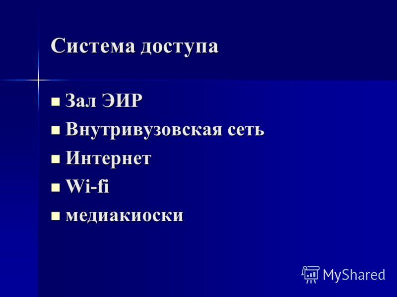 Система доступа Зал ЭИР Зал ЭИР Внутривузовская сеть Внутривузовская сеть Интернет Интернет Wi-fi Wi-fi медиакиоски медиакиоски