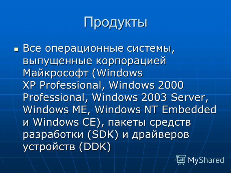 Продукты Все операционные системы, выпущенные корпорацией Майкрософт (Windows XP Professional, Windows 2000 Professional, Windows 2003 Server, Windows ME, Windows NT Embedded и Windows CE), пакеты средств разработки (SDK) и драйверов устройств (DDK)