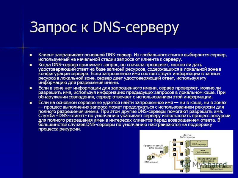 Запрос к DNS-серверу Клиент запрашивает основной DNS-сервер. Из глобального списка выбирается сервер, используемый на начальной стадии запроса от клиента к серверу. Клиент запрашивает основной DNS-сервер. Из глобального списка выбирается сервер, испо