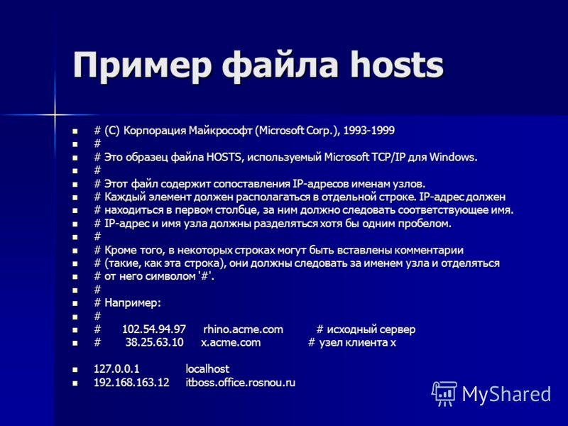 Пример файла hosts # (C) Корпорация Майкрософт (Microsoft Corp.), 1993-1999 # (C) Корпорация Майкрософт (Microsoft Corp.), 1993-1999 # # Это образец файла HOSTS, используемый Microsoft TCP/IP для Windows. # Это образец файла HOSTS, используемый Micro