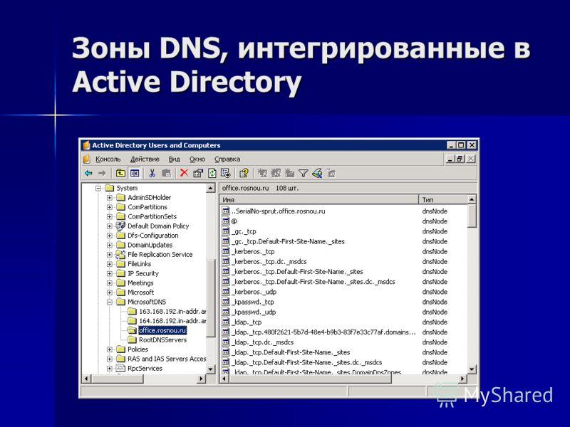 Зоны DNS, интегрированные в Active Directory