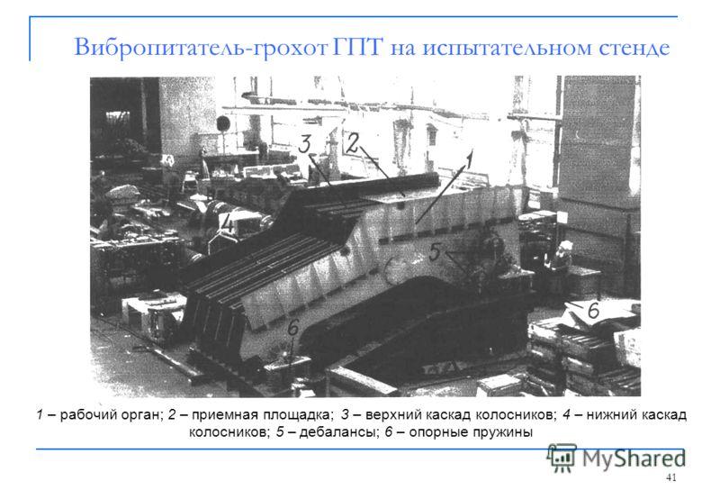 41 Вибропитатель-грохот ГПТ на испытательном стенде 1 – рабочий орган; 2 – приемная площадка; 3 – верхний каскад колосников; 4 – нижний каскад колосников; 5 – дебалансы; 6 – опорные пружины