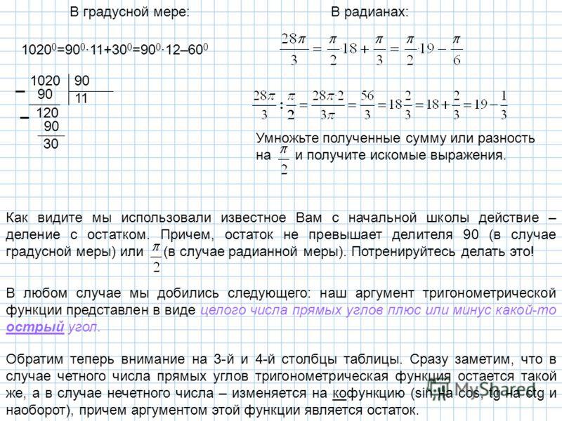 В градусной мере:В радианах: 1020 0 =90 0 ·11+30 0 =90 0 ·12–60 0 102090 11 90 120 90 30 Как видите мы использовали известное Вам с начальной школы действие – деление с остатком. Причем, остаток не превышает делителя 90 (в случае градусной меры) или