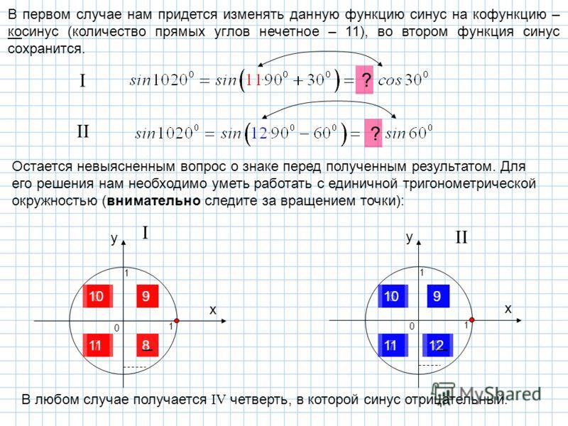 В первом случае нам придется изменять данную функцию синус на кофункцию – косинус (количество прямых углов нечетное – 11), во втором функция синус сохранится. I II Остается невыясненным вопрос о знаке перед полученным результатом. Для его решения нам
