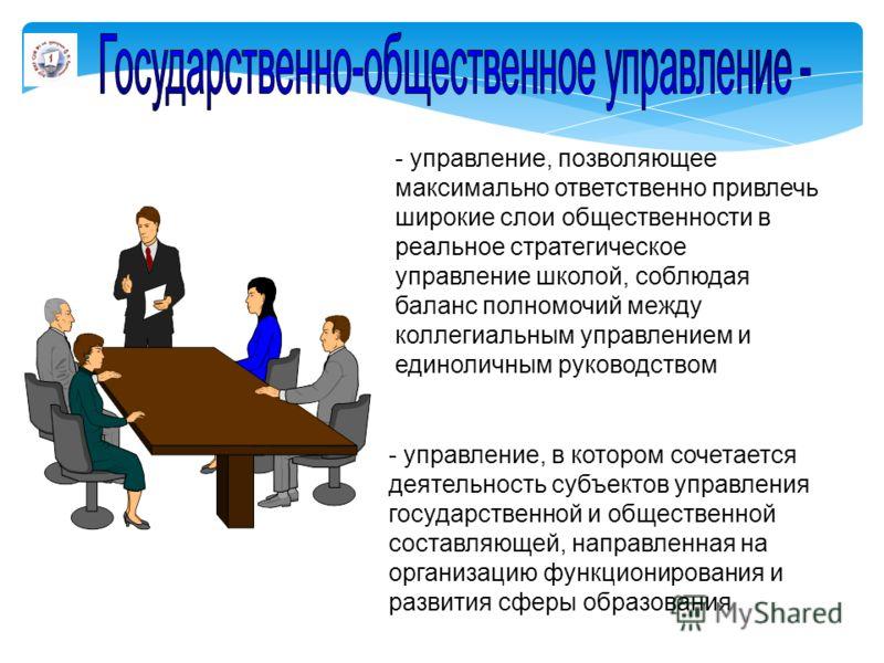 - управление, в котором сочетается деятельность субъектов управления государственной и общественной составляющей, направленная на организацию функционирования и развития сферы образования - управление, позволяющее максимально ответственно привлечь ши