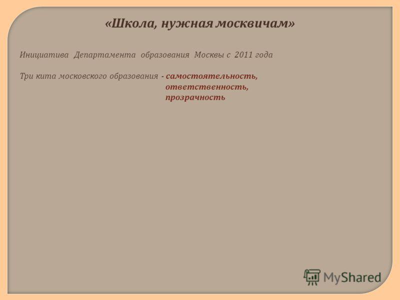 « Школа, нужная москвичам » Инициатива Департамента образования Москвы с 2011 года Три кита московского образования - самостоятельность, ответственность, прозрачность