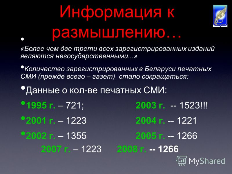 Информация к размышлению… «Более чем две трети всех зарегистрированных изданий являются негосударственными...» Количество зарегистрированных в Беларуси печатных СМИ (прежде всего – газет) стало сокращаться: Данные о кол-ве печатных СМИ: 1995 г. – 721