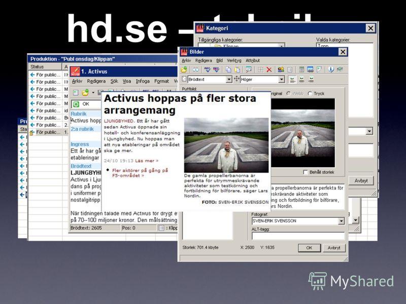 hd.se – teknik Redaktionellt system - webbpublicering för reportrar, fotografer och redigerare.