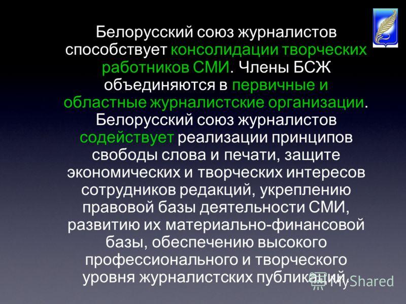 Белорусский союз журналистов способствует консолидации творческих работников СМИ. Члены БСЖ объединяются в первичные и областные журналистские организации. Белорусский союз журналистов содействует реализации принципов свободы слова и печати, защите э