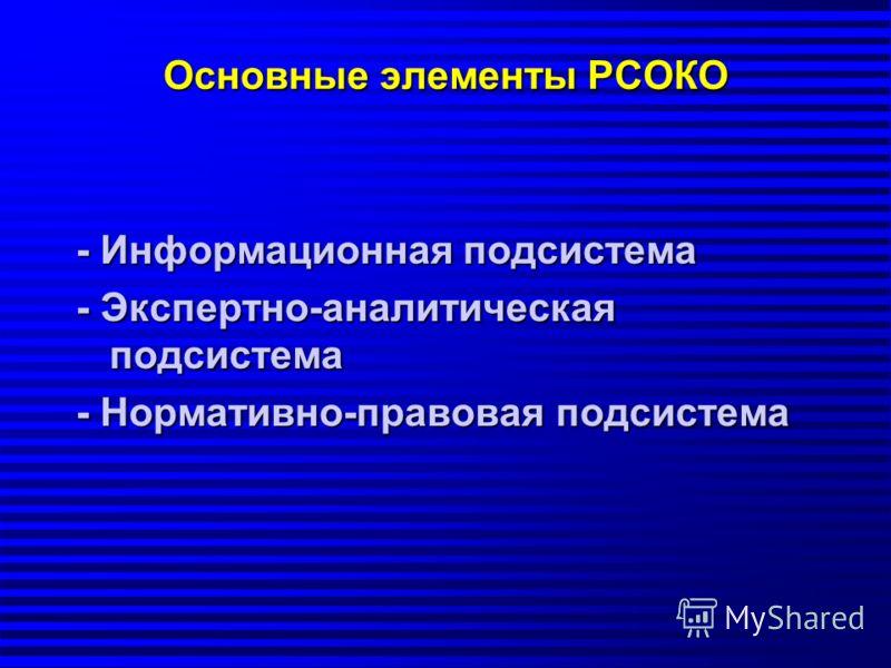 Основные элементы РСОКО - Информационная подсистема - Экспертно-аналитическая подсистема - Нормативно-правовая подсистема