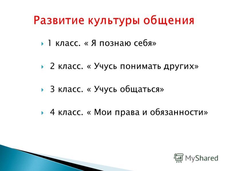 1 класс. « Я познаю себя» 2 класс. « Учусь понимать других» 3 класс. « Учусь общаться» 4 класс. « Мои права и обязанности»