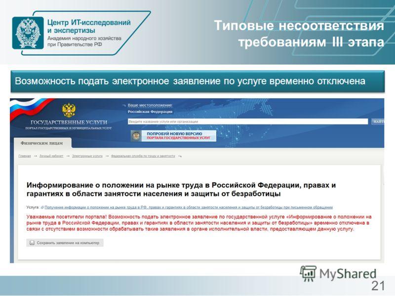 Типовые несоответствия требованиям III этапа Возможность подать электронное заявление по услуге временно отключена 21