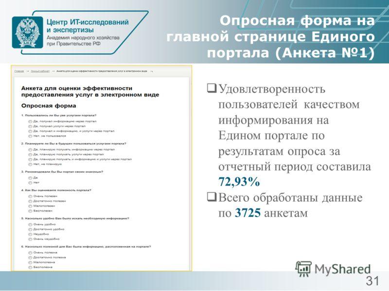 Опросная форма на главной странице Единого портала (Анкета 1) Удовлетворенность пользователей качеством информирования на Едином портале по результатам опроса за отчетный период составила 72,93% Всего обработаны данные по 3725 анкетам 31