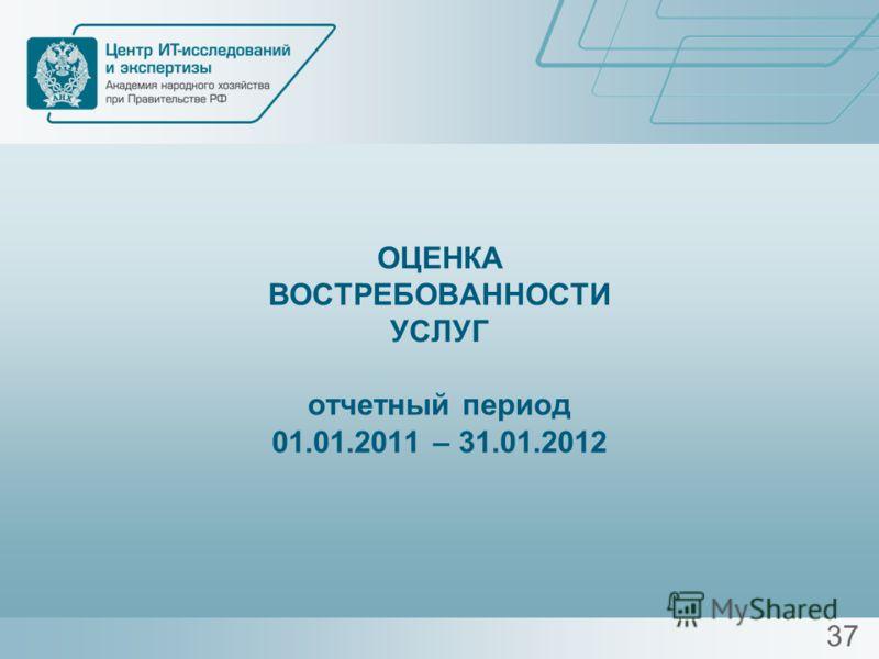 ОЦЕНКА ВОСТРЕБОВАННОСТИ УСЛУГ отчетный период 01.01.2011 – 31.01.2012 37