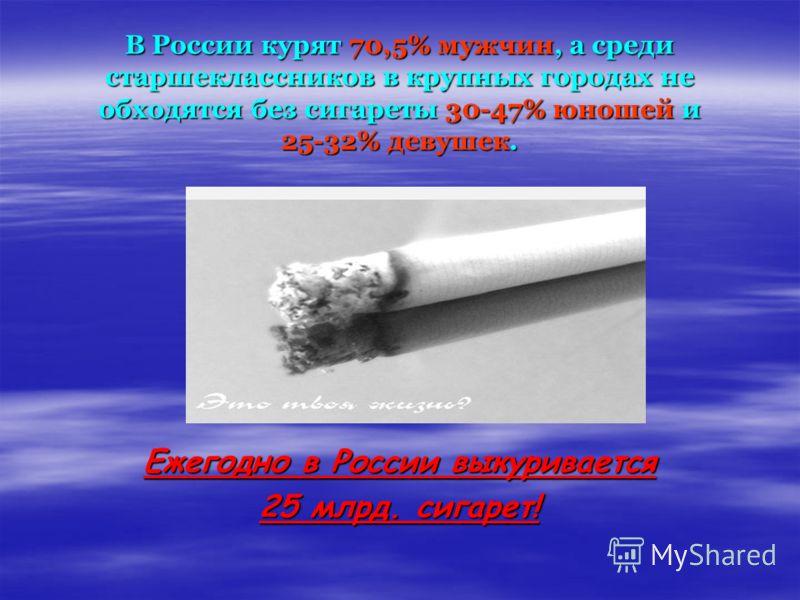 В России курят 70,5% мужчин, а среди старшеклассников в крупных городах не обходятся без сигареты 30-47% юношей и 25-32% девушек. Ежегодно в России выкуривается 25 млрд. сигарет!