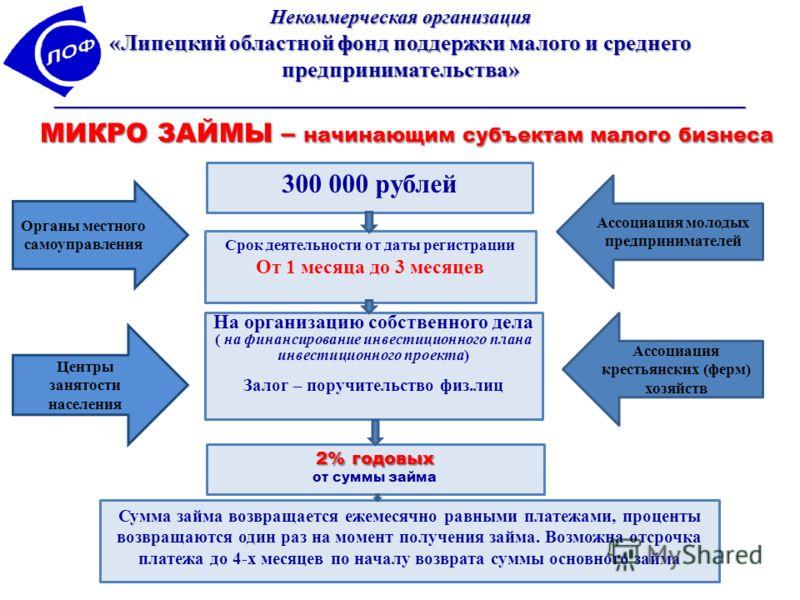 Некоммерческая организация «Липецкий областной фонд поддержки малого и среднего предпринимательства» ______________________________________________________________ МИКРО ЗАЙМЫ – начинающим субъектам малого бизнеса 300 000 рублей На организацию собств