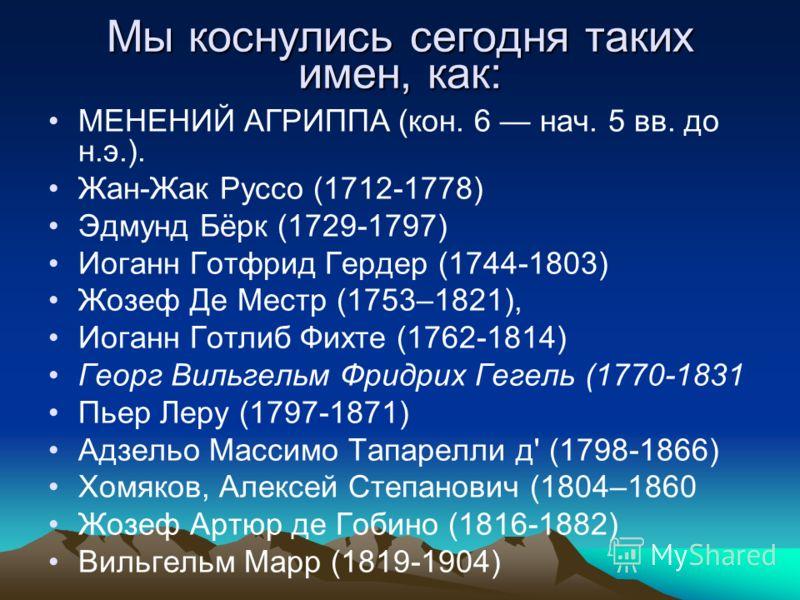 Мы коснулись сегодня таких имен, как: МЕНЕНИЙ АГРИППА (кон. 6 нач. 5 вв. до н.э.). Жан-Жак Руссо (1712-1778) Эдмунд Бёрк (1729-1797) Иоганн Готфрид Гердер (1744-1803) Жозеф Де Местр (1753–1821), Иоганн Готлиб Фихте (1762-1814) Георг Вильгельм Фридрих