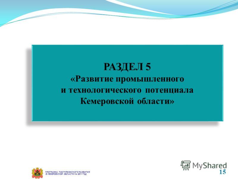 В КЕМЕРОВСКОЙ ОБЛАСТИ НА 2011 ГОД ПРОГРАММА ПОСТКРИЗИСНОГО РАЗВИТИЯ РАЗДЕЛ 5 «Развитие промышленного и технологического потенциала Кемеровской области» РАЗДЕЛ 5 «Развитие промышленного и технологического потенциала Кемеровской области» 15