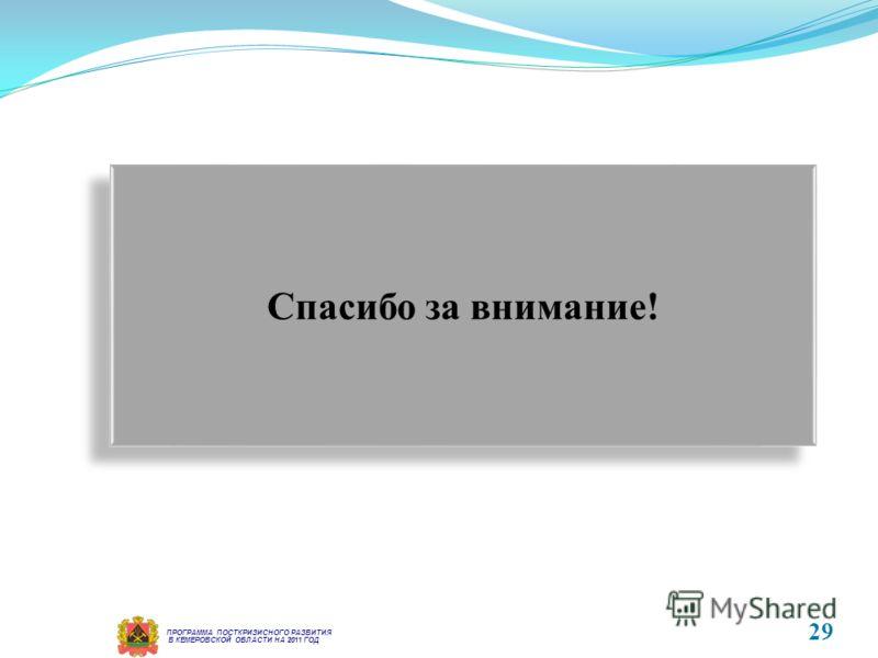 В КЕМЕРОВСКОЙ ОБЛАСТИ НА 2011 ГОД ПРОГРАММА ПОСТКРИЗИСНОГО РАЗВИТИЯ 29 Спасибо за внимание!