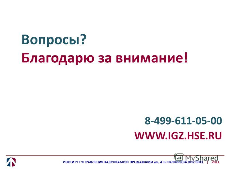 Вопросы? Благодарю за внимание! 8-499-611-05-00 WWW.IGZ.HSE.RU