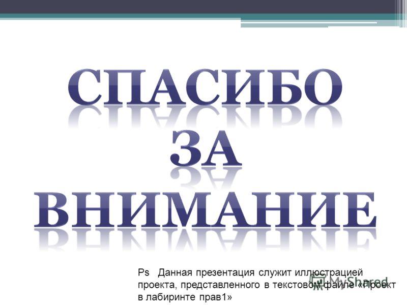 Ps Данная презентация служит иллюстрацией проекта, представленного в текстовом файле «Проект в лабиринте прав1»