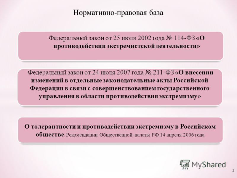 Нормативно-правовая база 2 Федеральный закон от 25 июля 2002 года 114-ФЗ «О противодействии экстремистской деятельности» О толерантности и противодействии экстремизму в Российском обществе. Рекомендации Общественной палаты РФ 14 апреля 2006 года Феде