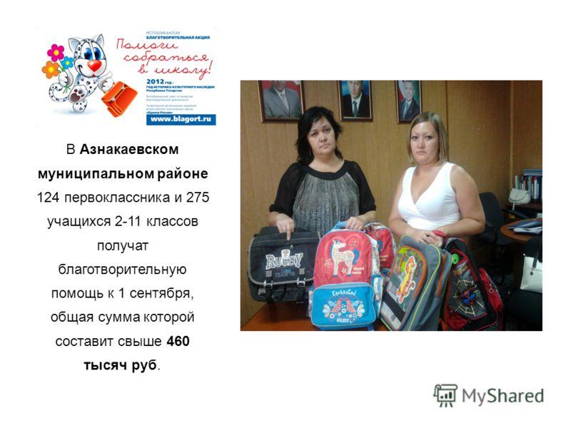 В Азнакаевском муниципальном районе 124 первоклассника и 275 учащихся 2-11 классов получат благотворительную помощь к 1 сентября, общая сумма которой составит свыше 460 тысяч руб.