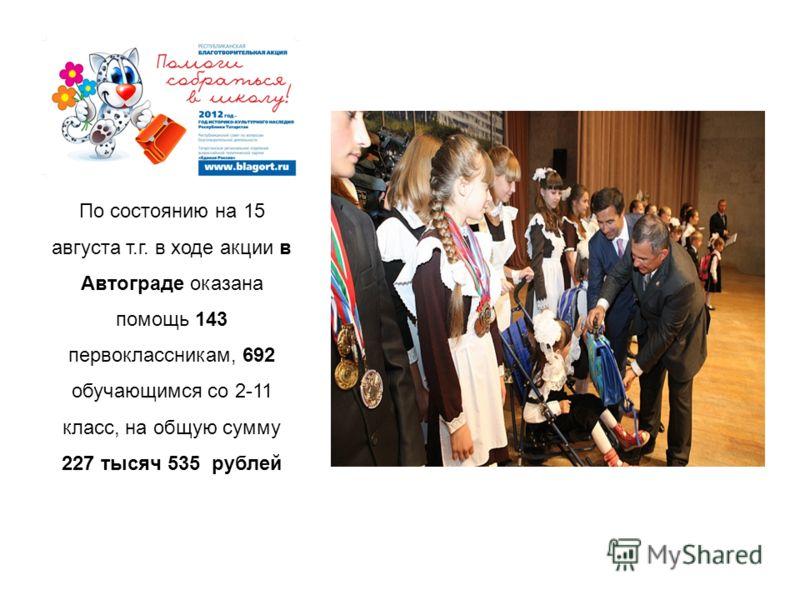 По состоянию на 15 августа т.г. в ходе акции в Автограде оказана помощь 143 первоклассникам, 692 обучающимся со 2-11 класс, на общую сумму 227 тысяч 535 рублей