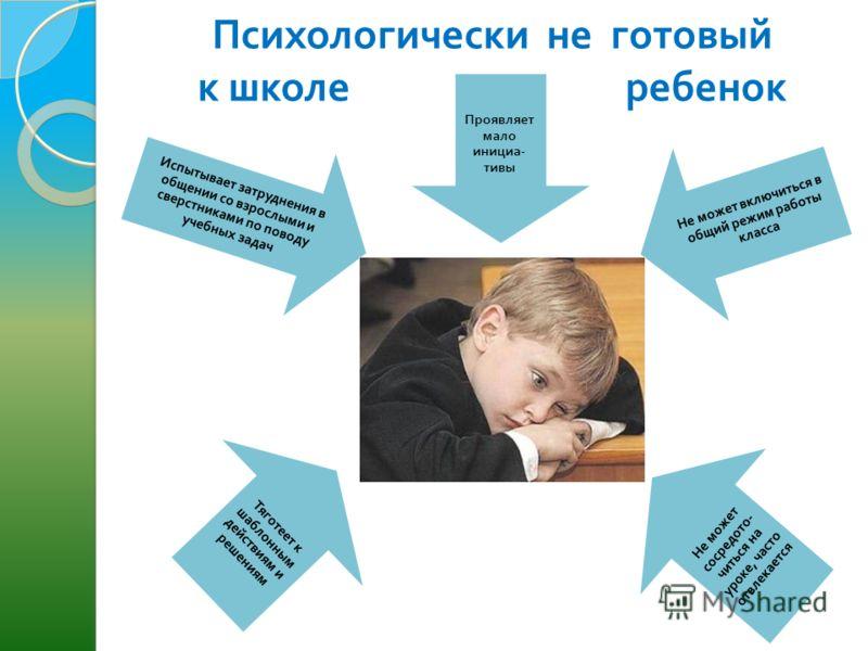 Психологически не готовый к школе ребенок Проявляет мало инициа - тивы Не может включиться в общий режим работы класса Не может сосредото - читься на уроке, часто отвлекается Тяготеет к шаблонным действиям и решениям Испытывает затруднения в общении