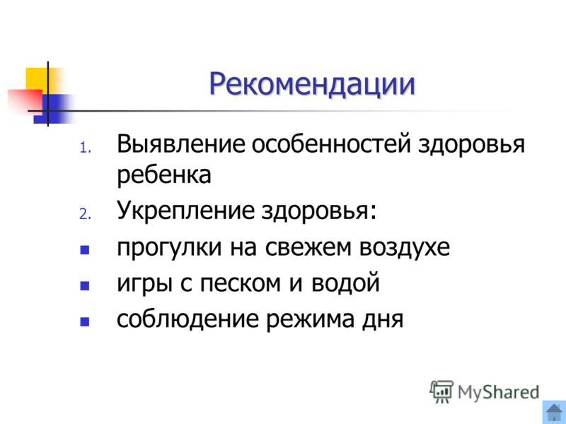 Рекомендации 1. Выявление особенностей здоровья ребенка 2. Укрепление здоровья: прогулки на свежем воздухе игры с песком и водой соблюдение режима дня