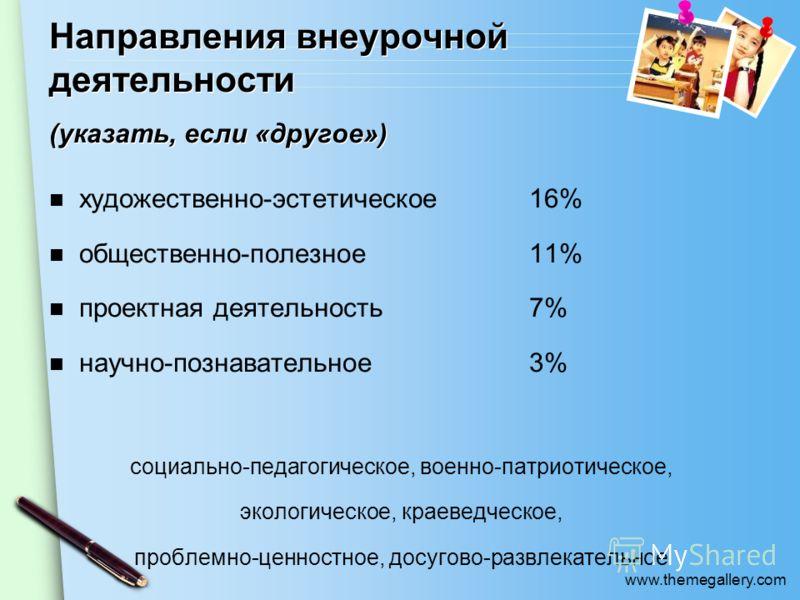 www.themegallery.com художественно-эстетическое16% общественно-полезное11% проектная деятельность7% научно-познавательное3% социально-педагогическое, военно-патриотическое, экологическое, краеведческое, проблемно-ценностное, досугово-развлекательное