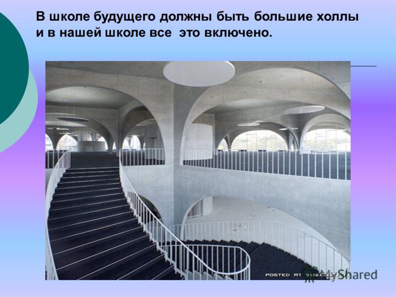 В школе будущего должны быть большие холлы и в нашей школе все это включено.