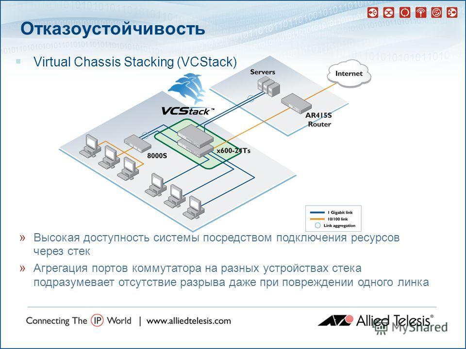 Отказоустойчивость Virtual Chassis Stacking (VCStack) » Высокая доступность системы посредством подключения ресурсов через стек » Агрегация портов коммутатора на разных устройствах стека подразумевает отсутствие разрыва даже при повреждении одного ли