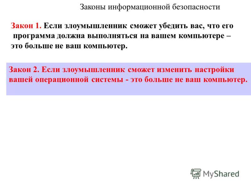 Законы информационной безопасности http://www.microsoft.com/rus/technet/security/10imlaws.mspx «Десять непреложных заповедей обеспечения безопасности» Закон 1. Если злоумышленник сможет убедить вас, что его программа должна выполняться на вашем компь