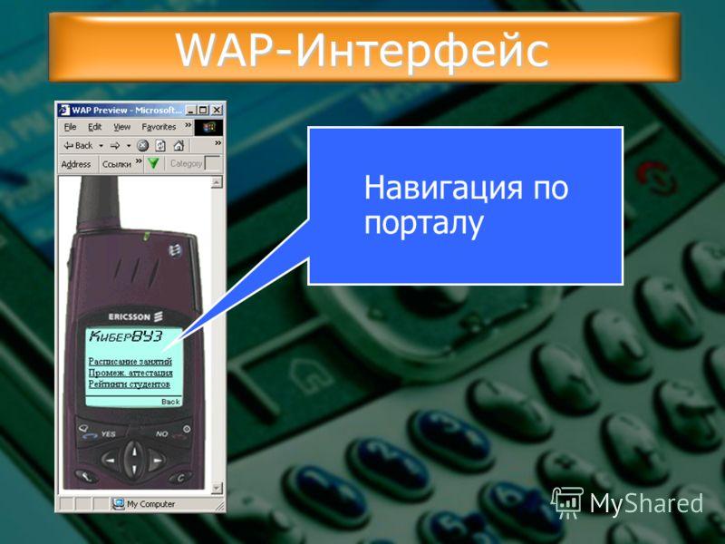 WAP-Интерфейс Навигация по порталу