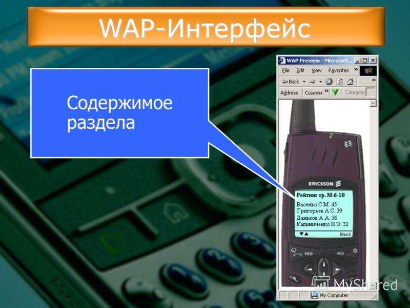 WAP-Интерфейс Содержимое раздела