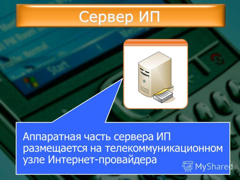 Сервер ИП Аппаратная часть сервера ИП размещается на телекоммуникационном узле Интернет-провайдера