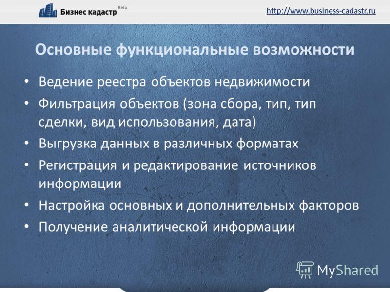 http://www.business-cadastr.ru Основные функциональные возможности Ведение реестра объектов недвижимости Фильтрация объектов (зона сбора, тип, тип сделки, вид использования, дата) Выгрузка данных в различных форматах Регистрация и редактирование исто